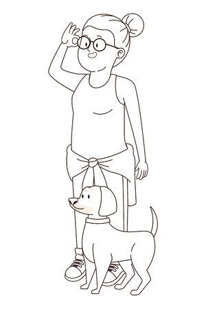 Teenager girl with glasses walking the dog cartoon ,vector illustration graphic design.