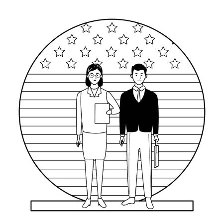 labor day employment occupation national celebration, doctor woman with business man workers in front american united states flag cartoon vector illustration graphic design