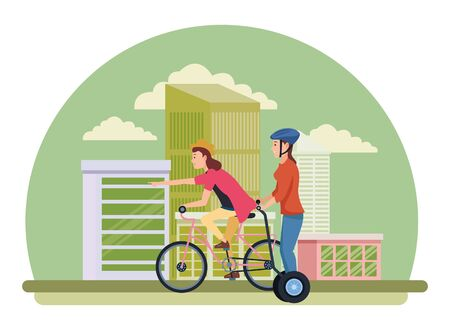 Young women friends riding with bicycle and electric scooter in the city urban buildings scenery in the city urban scenery background ,vector illustration graphic design.