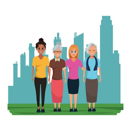 Family old mothers with adultt daughters cartoons in the cirty, urban scenery background ,vector illustration graphic design.