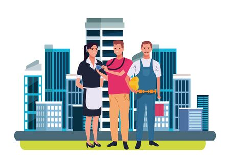 Professionals workers smiling with work tools cartoons in the city, urban scenery background ,vector illustration graphic design. Иллюстрация