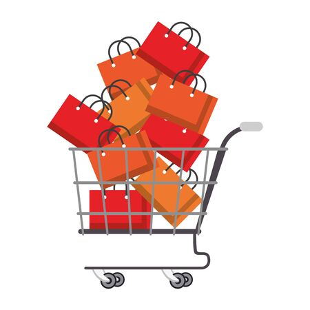 shopping retail sale store, shopping cart with shopping bags cartoon vector illustration graphic design 일러스트