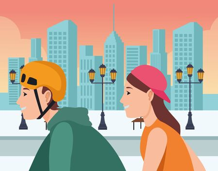 Friends couple riding on skateboards with helmets in the city urban scenery background ,vector illustration graphic design. Иллюстрация