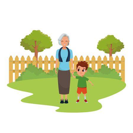 Grand-mère familiale prenant soin de la bande dessinée de petit-fils dans le parc naturel à l'extérieur de l'arrière-plan du paysage, conception graphique d'illustration vectorielle.
