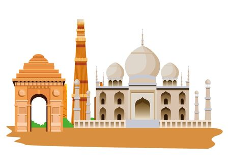 oriental antique taj mahal aged desert buildings isolated cartoon vector illustration graphic design