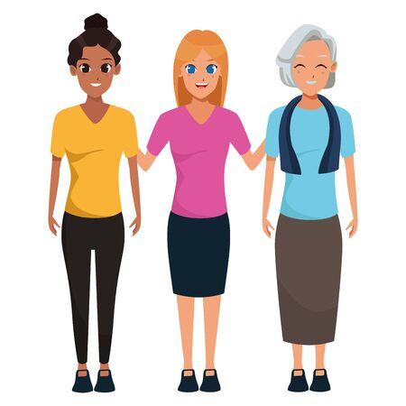 Familia anciana con abuelos adultt diseño gráfico ilustración vectorial Ilustración de vector