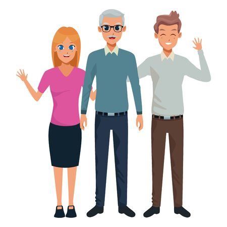 Family old father with adultt daughter and son smiling and greeting vector illustration graphic design