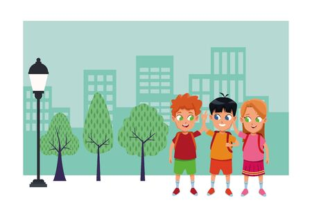childhood cute school students happy friends wearing backpack cartoon in the city park, nature and urban scenery ,vector illustration graphic design.