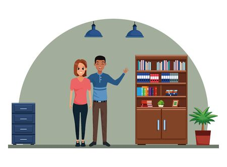 Young man and woman couple smiling and greeting cartoon inside library with bookshelf and office cabinet vector illustration graphic design.