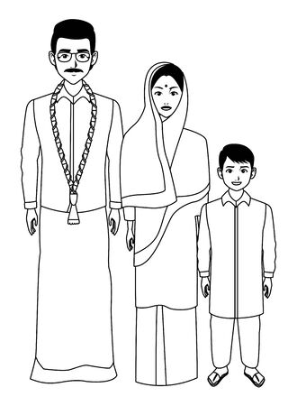 indian asian religion oriental culture, traditional family, mother and father with son cartoon vector illustration graphic design