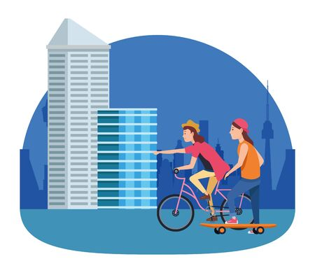 Friends riding in bicycle and pulling skateboard cartoon in the city, urban scenery ,vector illustration graphic design.