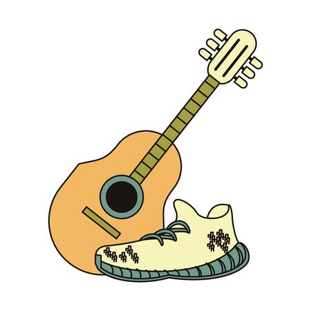 acoustic guitar and white sneakers isolated symbol Vector design illustration  イラスト・ベクター素材