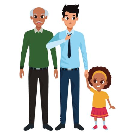 Family father and grandfather hand of with afro girl vector illustration graphic design