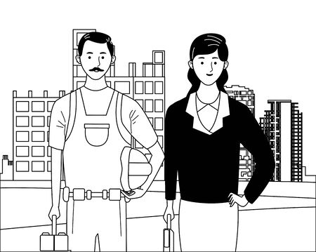 labor day employment occupation national celebration, builder with executive business woman workers in front city construction view cartoon vector illustration graphic design