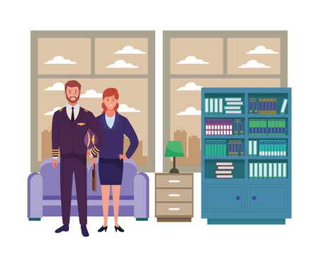 Professionals workers pilot and businesswoman smiling cartoons inside house living room background ,vector illustration graphic design.