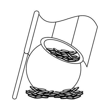 saint patricks day irish tradition golden coins pot with ireland flag cartoon vector illustration graphic design Ilustrace