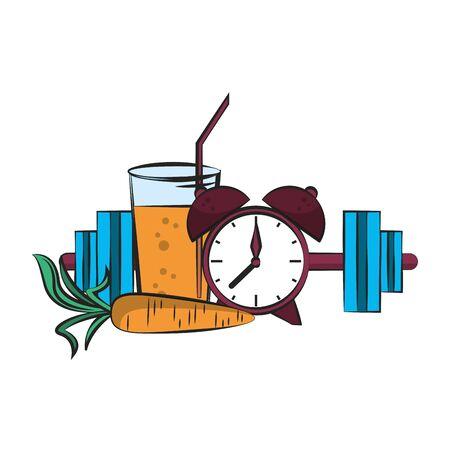 fitness sport heatlhy lifestyle, gym and healthydiet objects cartoon vector illustration graphic design Illusztráció