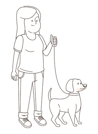 Teenager smiling and walking the dog cartoon isolated,vector illustration graphic design. Foto de archivo - 130133371