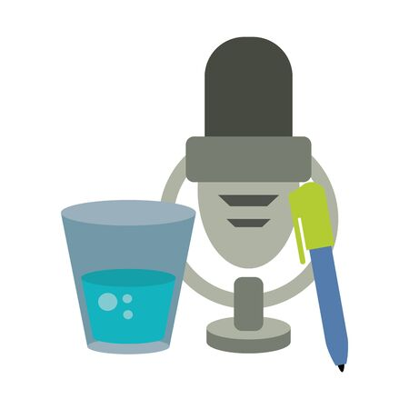 Microphone and pen with water glass vector illustration graphic design