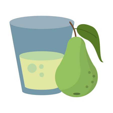 Pear juice cup with fruit vector illustration graphic design Иллюстрация