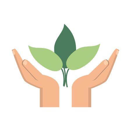 hands protecting leaves plant symbol vector illustration graphic design Ilustração