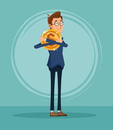 Businessman banker hugging coin cartoon vector illustration graphic design