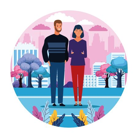 Couple in the city scenery round icon cartoon vector illustration graphic design Ilustracja
