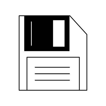technology diskette cartoon vector illustration graphic design in black and white