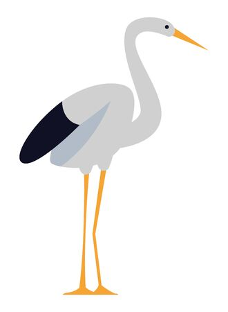 Stork standing bird cartoon symbol ,vector illustration graphic design. Ilustração