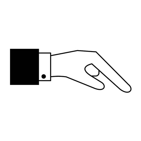 human hand cartoon vector illustration graphic design in black and white