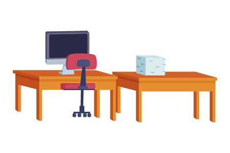Office workplace desks and chair with computer and documents elements cartoons ,vector illustration graphic design.
