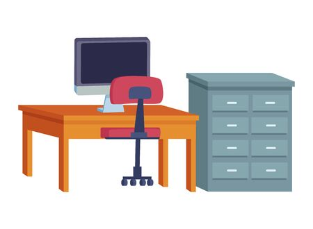 Office and workplace elements computer and chair with desk and drawer cartoons ,vector illustration graphic design.