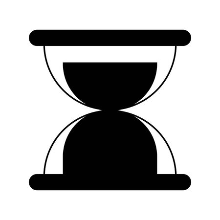 sand glass clock cartoon vector illustration graphic design in black and white Ilustracja