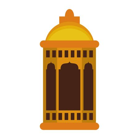 lantern decoration festival golden lamp, arabic and oriental culture cartoon vector illustration graphic design Ilustração