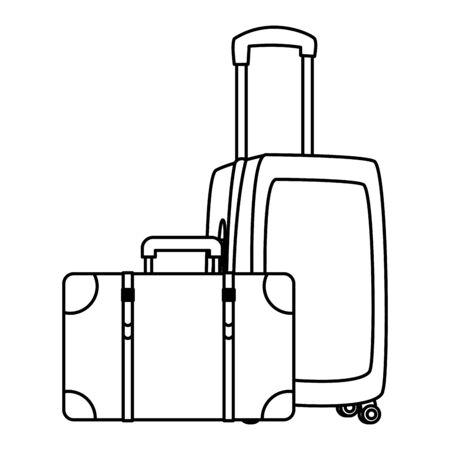 Travel luggage with wheels and suitcase vector illustration graphic design Ilustração