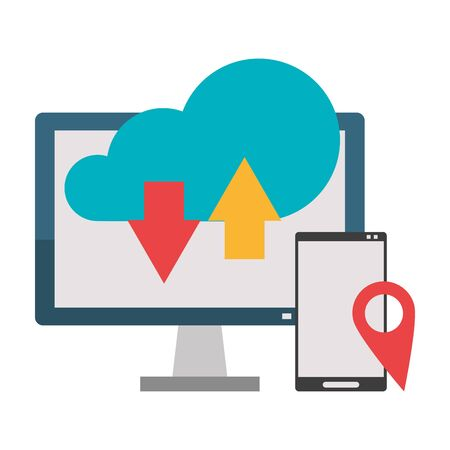 Cloud computing technology smartphone and computer symbols vector illustration graphic design Ilustrace