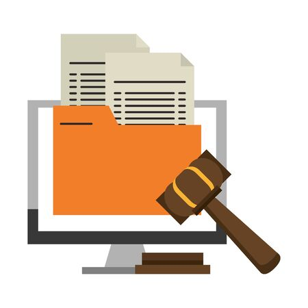 Computer with document and justice gavel symbol vector illustration