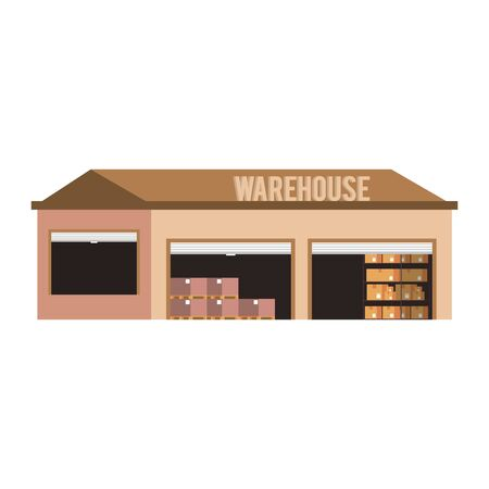 Warehouse storage with delivery boxes inside vector illustration