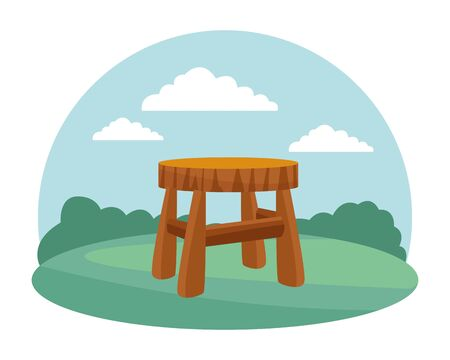 farm, animals and farmer milkstool bench icon cartoon over the grass with bush and clouds vector illustration graphic design Ilustração