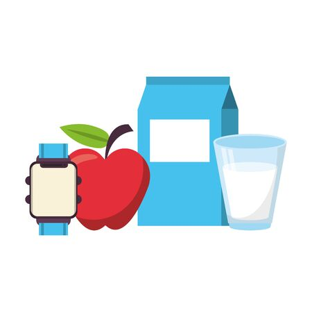food and healthy life and milk water flask apple watch symbols vector illustration graphic design