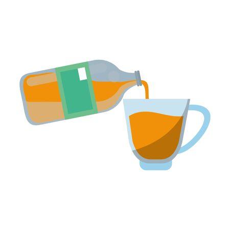 healthy drink juice orange nature bottle and glass cartoon vector illustration graphic design