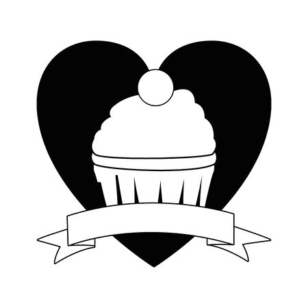 cup cake icon cartoon isolated with heart background and ribbon banner in black and white vector illustration graphic design