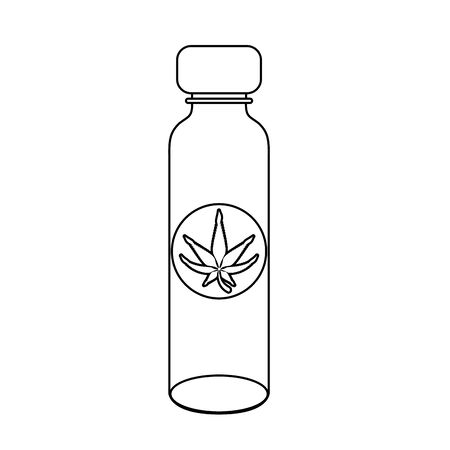 cannabis martihuana medical marijuana medicine sativa hemp oil bottle cartoon vector illustration graphic design