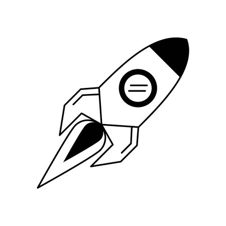 rocket taking off cartoon vector illustration graphic design in black and white