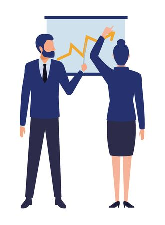 business business people businessman wearing beard and using a wand pointing a data chart and businesswoman back view