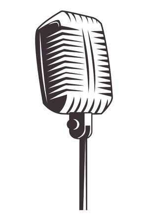 antique microphone drawn in black and white tattoo icon vector illustration graphic design