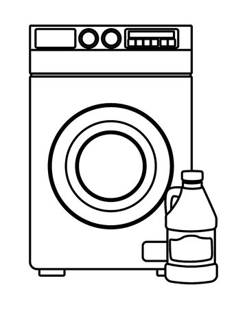laundry wash and cleaning bleach and washing machine icon cartoon in black and white vector illustration graphic design Illustration