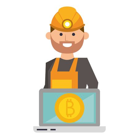 Bitcoin cryptocurrency mining from laptop with worker cartoon vector illustration graphic design Ilustração