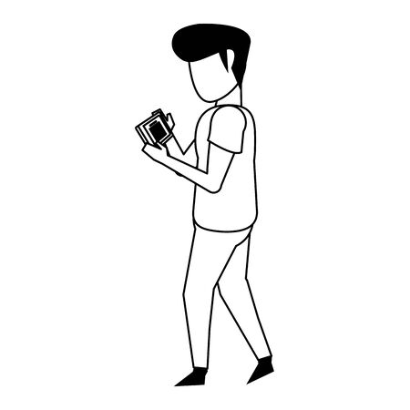 man using smartphone mobile technology for read document cartoon vector illustration graphic design Ilustrace