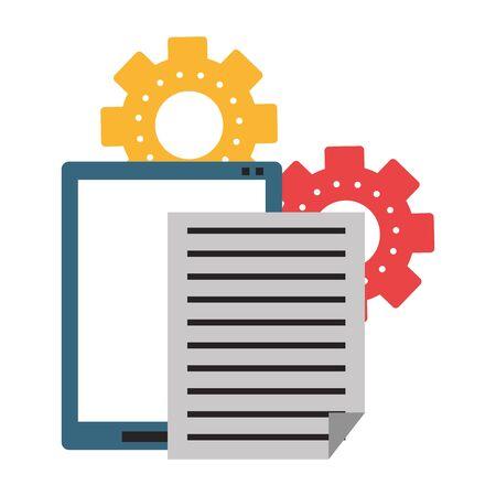 Office tablet with documents and gears symbols vector illustration graphic design Illusztráció